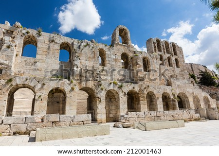 The Theatre of Dionysus on the Acropolis, Athens Greece - stock photo