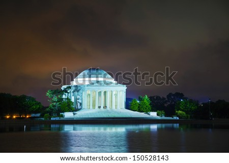 The Thomas Jefferson Memorial in Washington, DC at night - stock photo