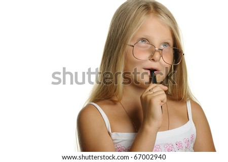 The thoughtful girl the blonde in glasses and with pen. It is isolated on a white background - stock photo