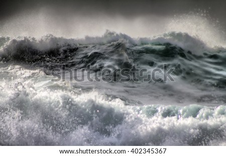 The threat of cataclysm. Devastating hurricane. Killer wave. Ocean storm weather with huge waves close up - stock photo