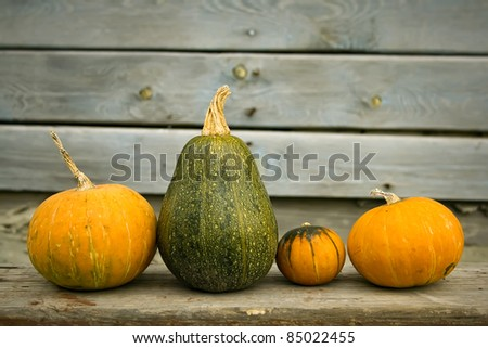 The three bright pumpkins on a wooden bench - stock photo