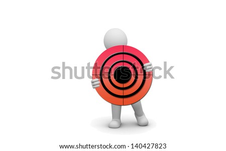The three-dimensional images of cute cartoon of a target. - stock photo