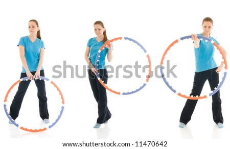 The three young woman with the hoop isolated on a white background - stock photo