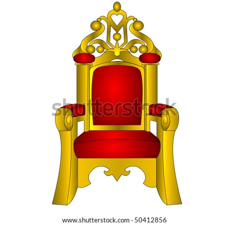 Throne chair for king red and soft insulated on white background