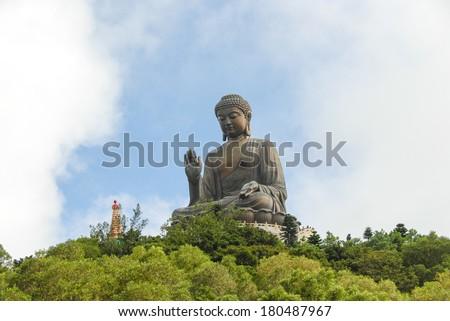 The Tian Tan Buddha in Hong Kong - stock photo