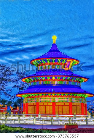 The TianTan Heavens Gate,Heavenly Temple at Chinese lantern show,digital oil painting - stock photo