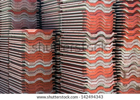 The tiled roof. - stock photo