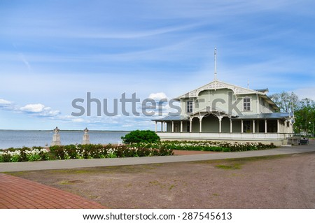 The timber-laced Resort Hall on the seaside of Haapsalu town promenade. Were built at the end of the 19th century. - stock photo