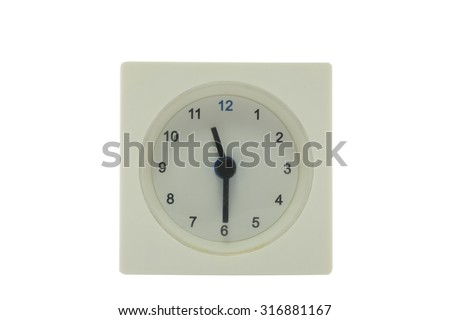 The time is now 11.30 AM,work time, meeting time, isolated white background with path - stock photo