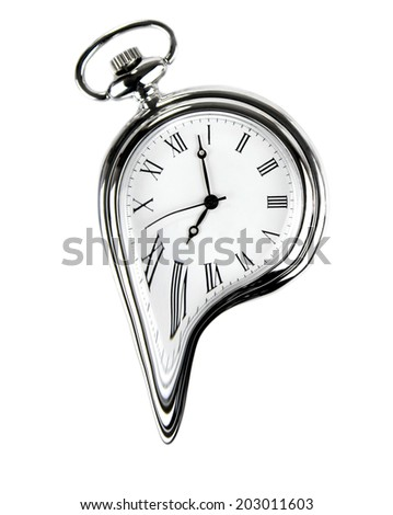 The time melting.. Surreal style image. Isolated on white  - stock photo