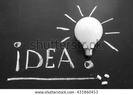 The title Idea! written by white chalk and the light bulb on the black chalkboard, light bulb idea , business idea , business concept ,Innovation concept - stock photo