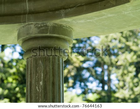 The Top of a Marble Column of a Gazebo - stock photo