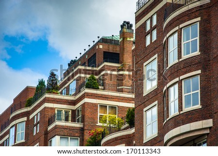 The top of an apartment building in Boston, Massachusetts. - stock photo