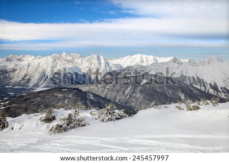 The top view of Seefeld ski region on winter day.  - stock photo