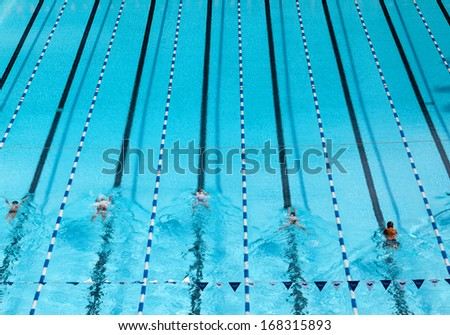 The top view of swimming pool. - stock photo