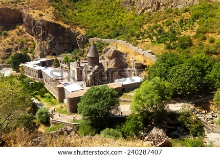 The top view on the ancient Armenian Geghard temple complex - stock photo