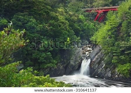 The Toroki Falls on the southern island of Yakushima, Japan. - stock photo