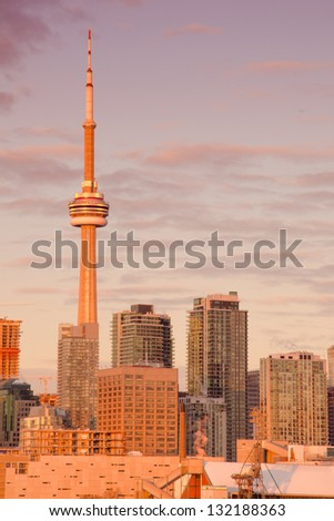 The Toronto skyline at the break of a beautiful dawn - stock photo