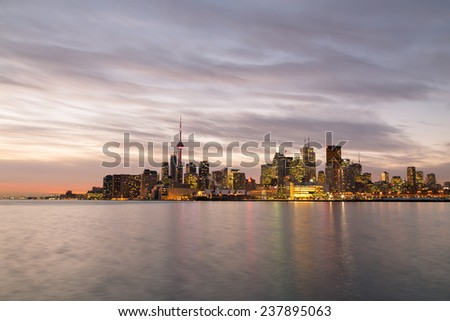 The Toronto skyline from the East at twilight taken with a long exposure - stock photo