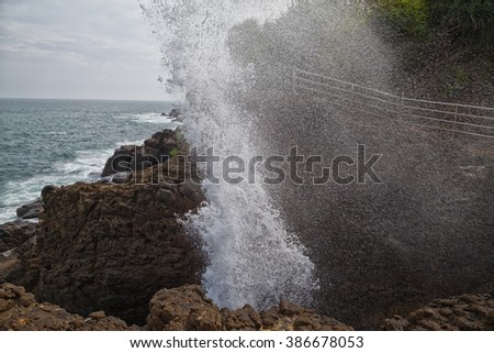 The tourist attraction Blow Hole in the South of Sri Lanka at the Indian Ocean - stock photo