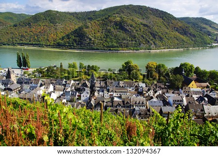 """The tourist route""""Castles of the Rhine"""". Kaub, Germany. - stock photo"""