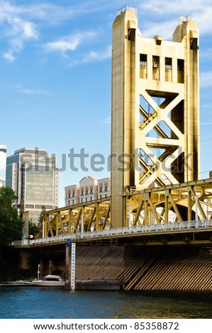 the Tower Bridge in Sacramento California on  sunny day.Built in 1935 - stock photo