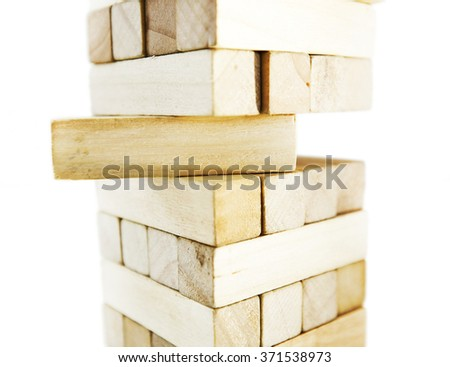 The tower from wooden blocks  - stock photo
