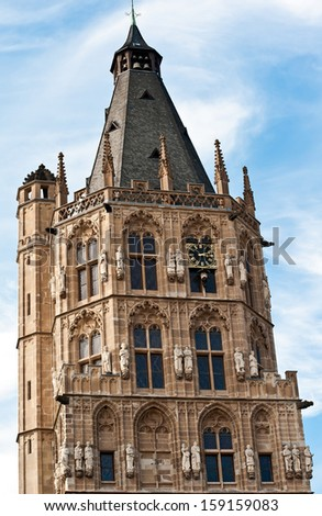 The tower of Old City Hall, Cologne, Germany - stock photo