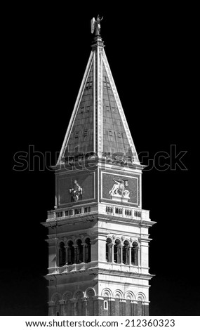 The Tower of San Marco - Venice, Italy (black and white) - stock photo