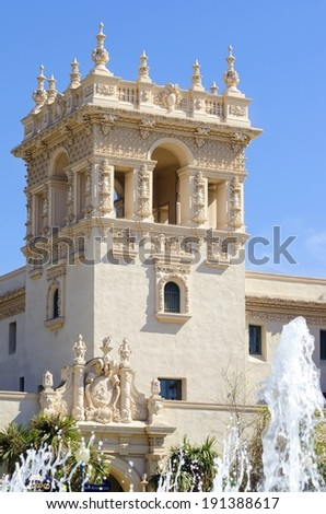 The tower of the historic landmark Casa Del Orado, decorated with carved baroque wall of spanish colonial architecture, located at Balboa Park, San Diego, California, United States of America - stock photo