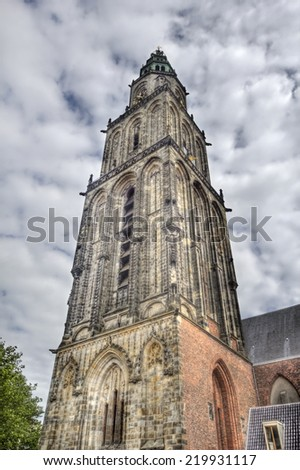 The tower of the Martini Church in Groningen, Holland - stock photo