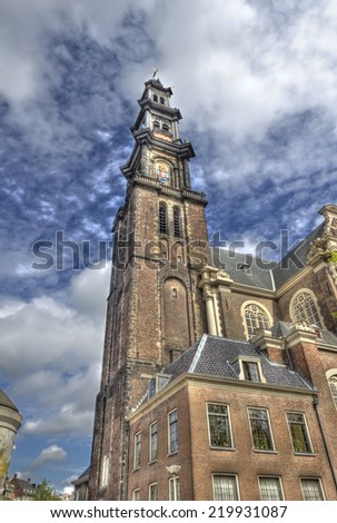 The tower of the Westerkerk (Westerchurch) in Amsterdam - stock photo