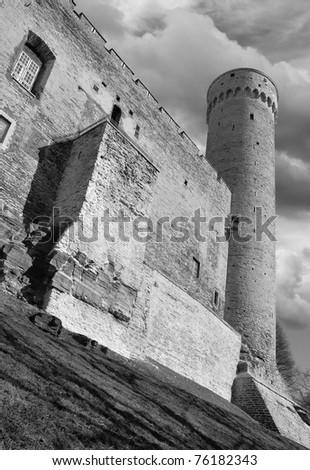 The Tower Tall Hermann (Pikk Hermann) on Toompea Castle in Tallinn, Estonia. - stock photo