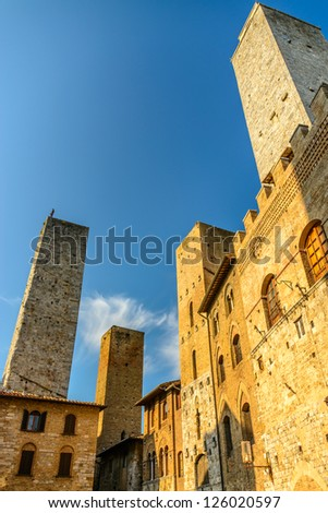 The towers, San Gimignano, medieval village, Tuscany, Italy - stock photo