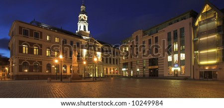 The Town Hall In The Old Town Square, Riga, Latvia - stock photo