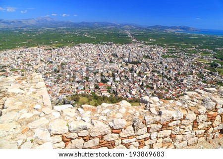 The town of Argos seen from Larissa, a Venetian fortress built on top of the old Greek citadel, Greece - stock photo