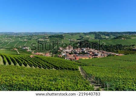 The town of Barolo in the Langhe vineyards - Piedmont - North Italy - stock photo