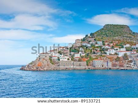 The town of island Hydra in Saronikos Gulf in Greece - stock photo