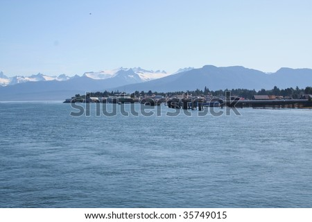 The town of Petersburg, Alaska as viewed from the water - stock photo