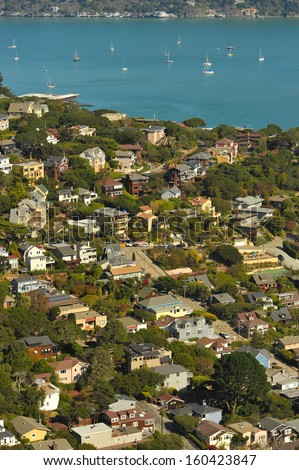 The town of Sausalito, CA. USA with Richardson Bay in the background - stock photo