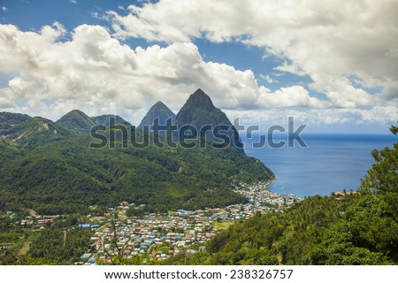 The town of Soufriere, St Lucia and the Pitons - stock photo