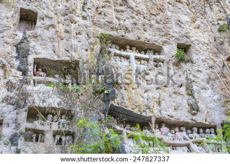"""The traditional burial site of Suaya, where coffins are placed in caves carved into the cliff, guarded by balconies of effigies of the dead persons (""""tau tau""""). Tana Toraja, South Sulawesi, Indonesia - stock photo"""
