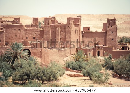 The traditional Kasbah fortress and berber houses in Ouarzazate Morocco. Traditional Moroccan house - stock photo