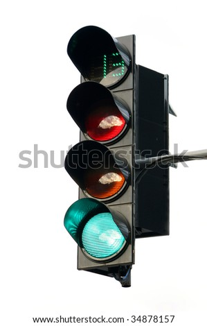The traffic light on a white background shows a green signal duration thirteen seconds - stock photo