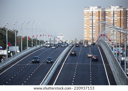 The traffic on the bridge - stock photo