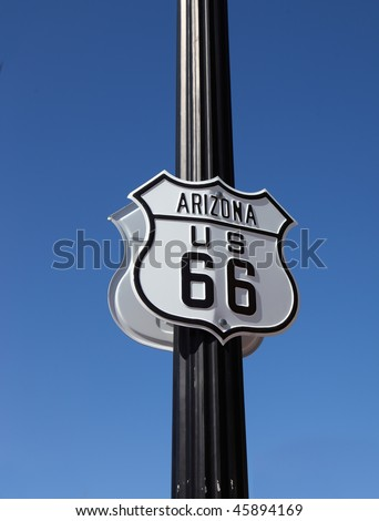 The traffic sign on  American highway strengthened on a metal column, Historic route 66 - stock photo