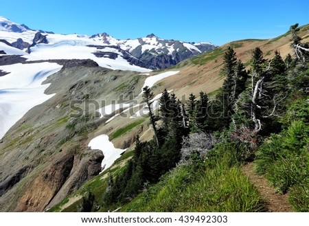 The trail goes to the summit of Mount Baker - stock photo