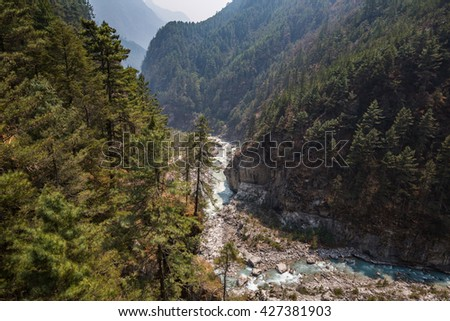 The trail on the trek to Everest base camp - stock photo