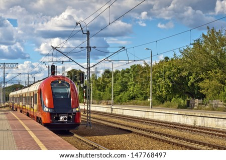 The train pulls into the station. - stock photo