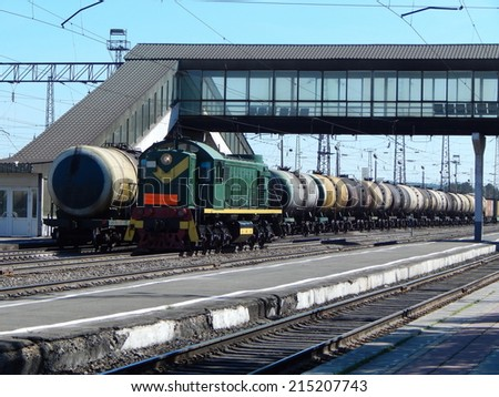 The train station. A freight train to transport oil in tanks.  - stock photo